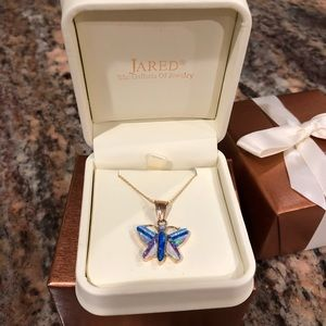 14k gold opal butterfly necklace by Jared